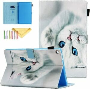 Cookk Fire HD 10 Case (5th, 7th & 9th Generation), White Cat