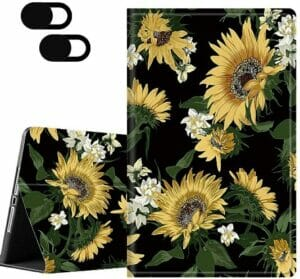 JEAOR Fire HD 10 Case (5th, 7th & 9th Generation), Retro Sunflower