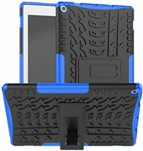Maomi for Amazon Fire hd 10 case 2019 2017 Release,Kickstand Shock-Absorption Heavy Duty Armor Defender Cover for Kindle Fire hd 10 9th7th Generation (Blue)